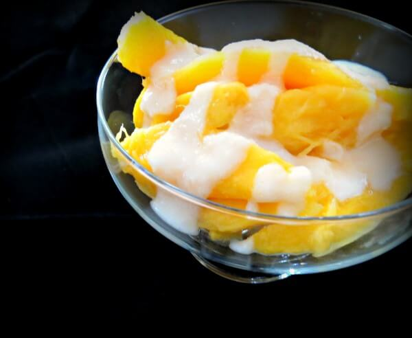 Fruit topped with coconut butter