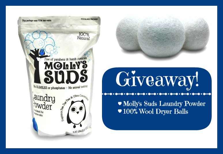 Giveaway: Molly's Suds Laundry Powder and 100% Wool Dryer Balls (2 Set) ~ $61 Value!