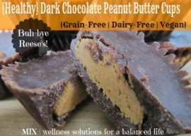 Grain free, dairy free, vegan Dark Chocolate Peanut Butter Cups from MIX: Wellness solutions for a balanced life