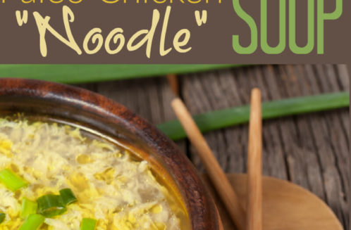 Paleo chicken noodle soup is a nourishing dish made with bone broth, egg drop noodles and pasture raised chicken.