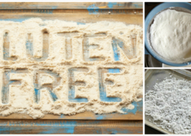 Gluten Free written in coconut flour, in a collage with pictures in a collage with coconut dough and shredded coconut