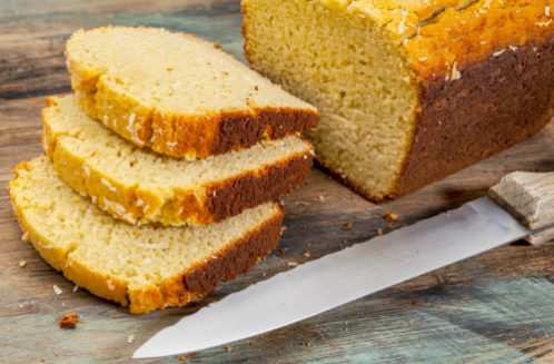 slices of freshly baked coconut flour bread