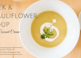 Leek and Cauliflower Soup with Coconut Cream
