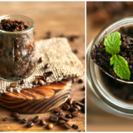 coffee body scrub with coffee beans