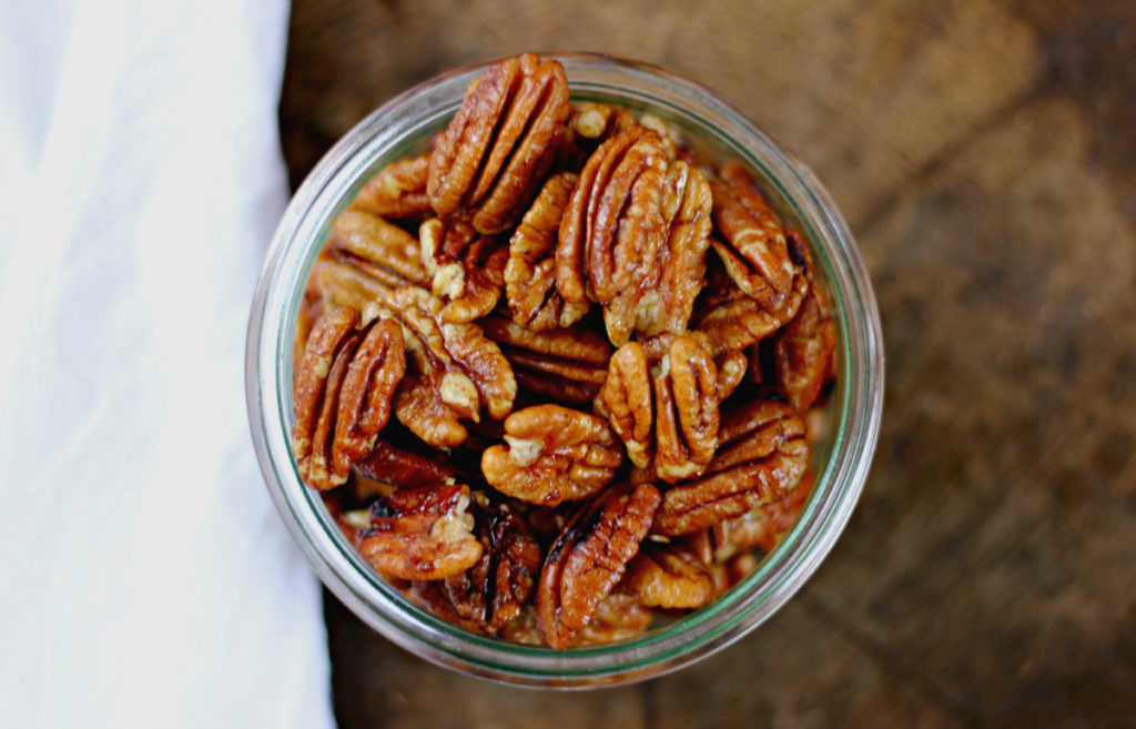 Candied pecans are such a yummy treat. This candied pecans recipe is made with wholesome ingredients and naturally sweetened with maple syrup.