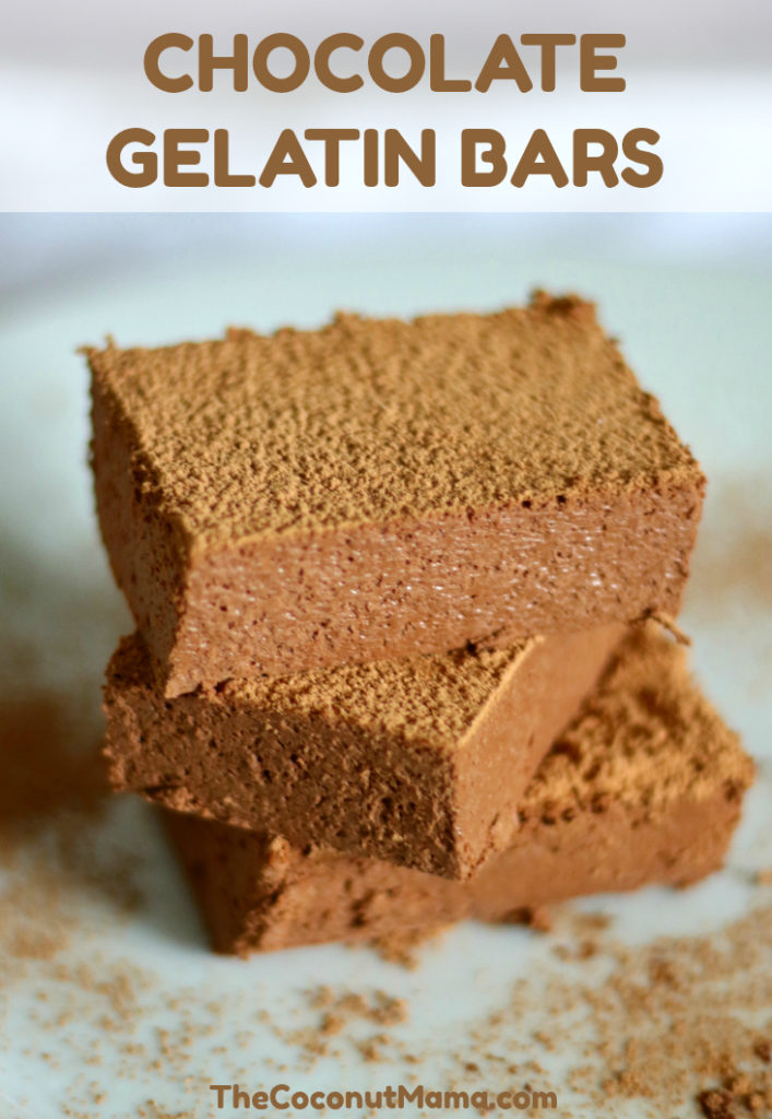 These chocolate gelatin bars are amazing! They are full of minerals and protein. These are a nice post-workout snack (or any snack for that matter) and a great treat for kids too!