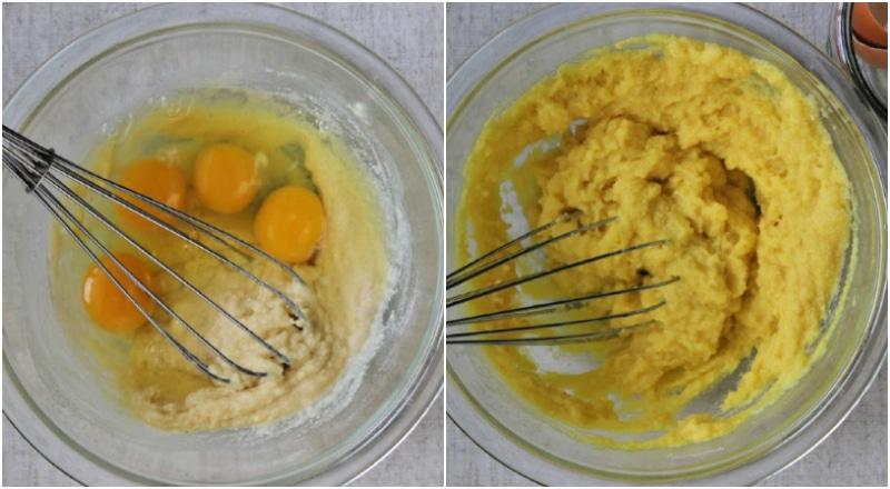 eggs in a bowl of keto cornbread batter