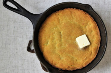 cast iron skilled with keto cornbread