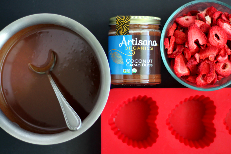 chocolate coconut butter and strawberries