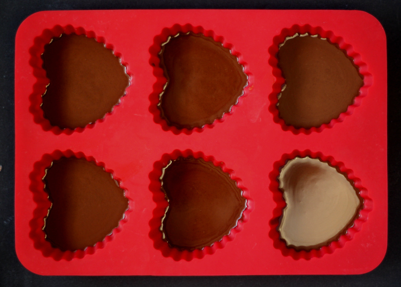 chocolate in heart molds