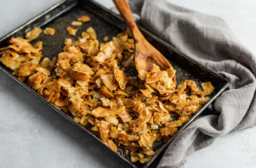 baking sheet with coconut bacon