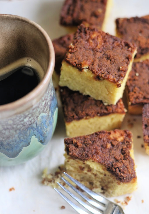 coconut flour coffee cake with a cup of coffee