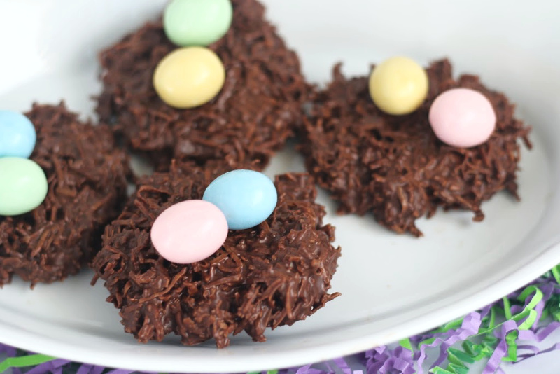 These chocolate coconut nest cookies are perfect for Easter or anytime you want to make simple no-bake cookies!
