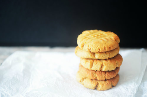 coconut flour peanut butter cookies on parchment paper