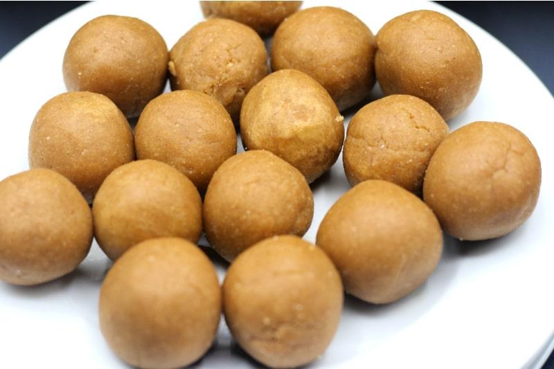 keto peanut butter balls on a white plate