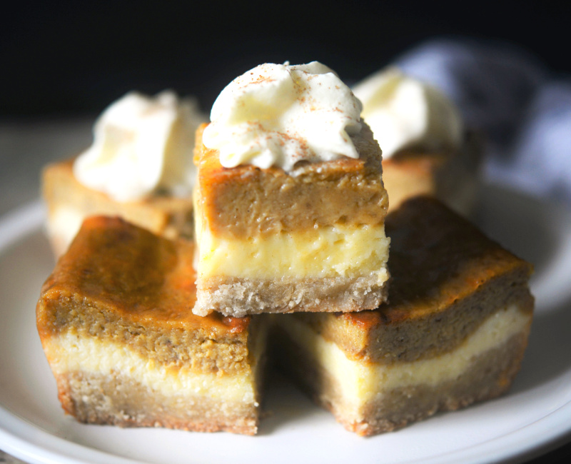 keto pumpkin cheesecake bars on a plate