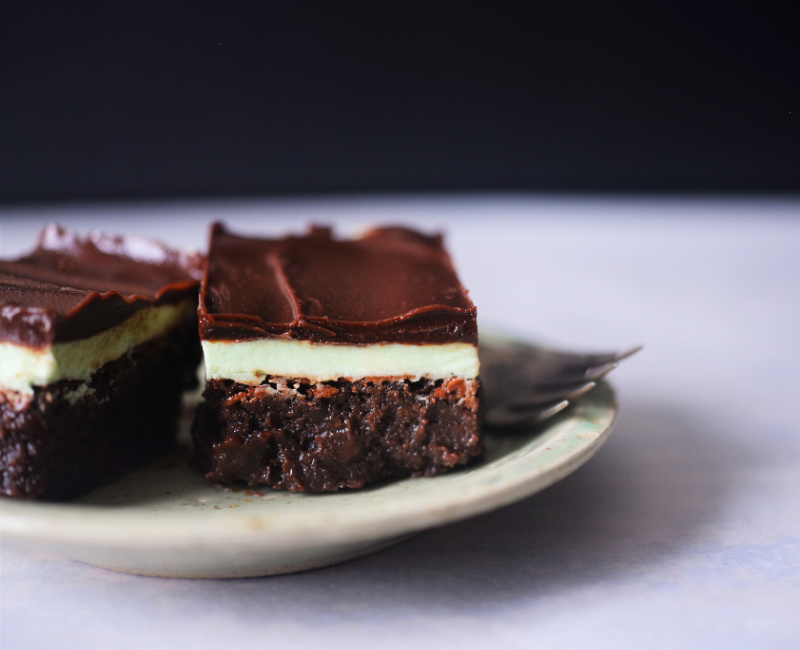 These 3 layer Keto Peppermint Brownies are a fudgy brownie made with coconut flour with a frosted peppermint layer