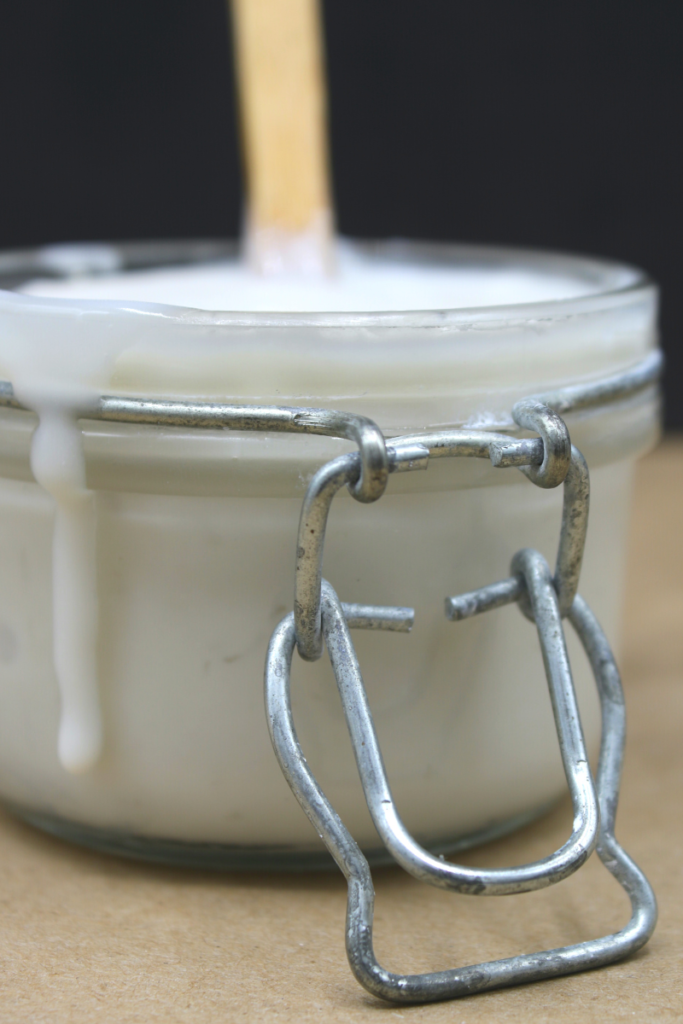 glass jar with sweetened condensed coconut milk