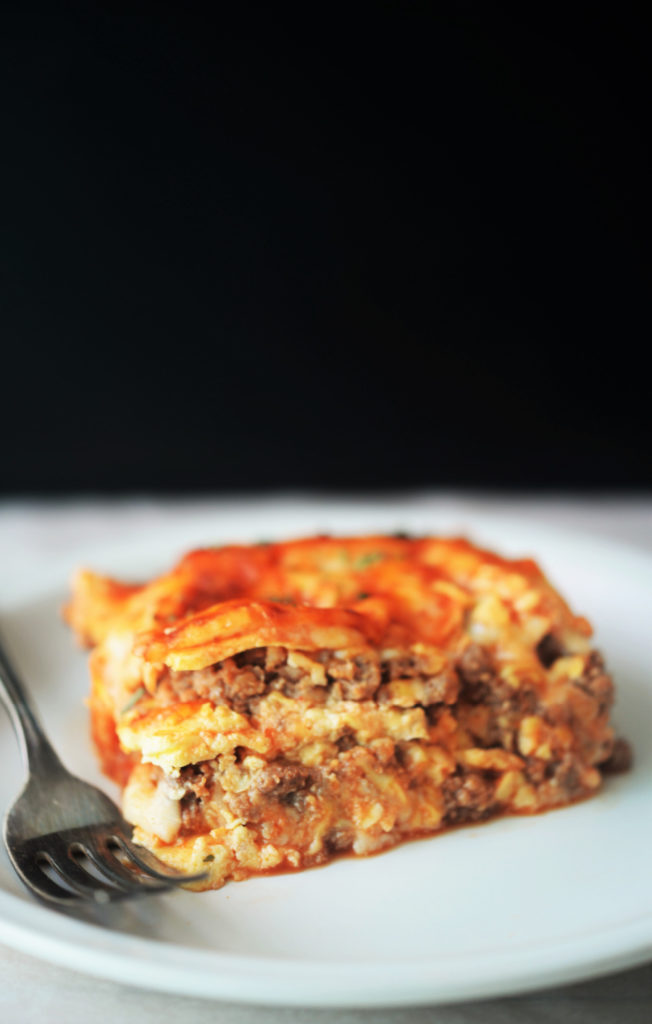 a slice of lasagna made with keto cauliflower noodles