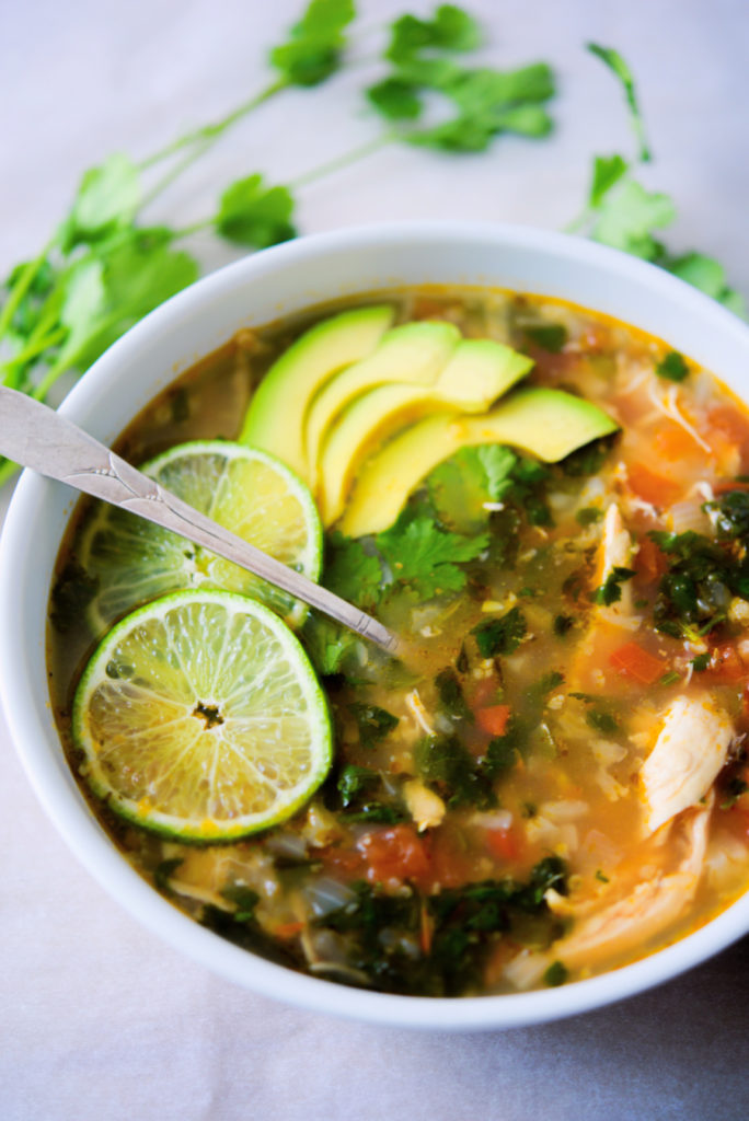 white bowl of Chicken Cilantro Lime Soup