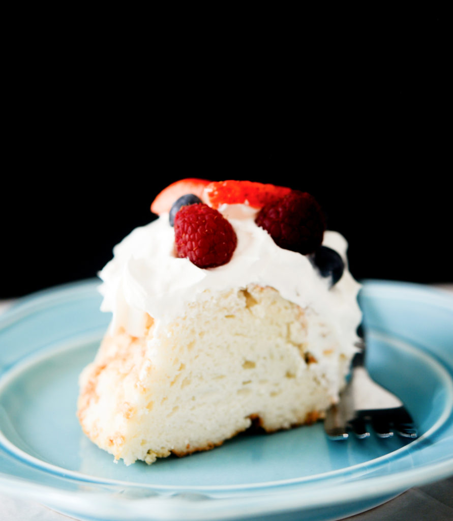 plate with a slice of angel food cake