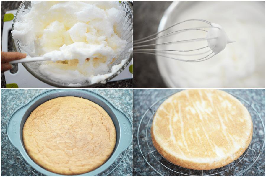 collage of coconut flour cake photos