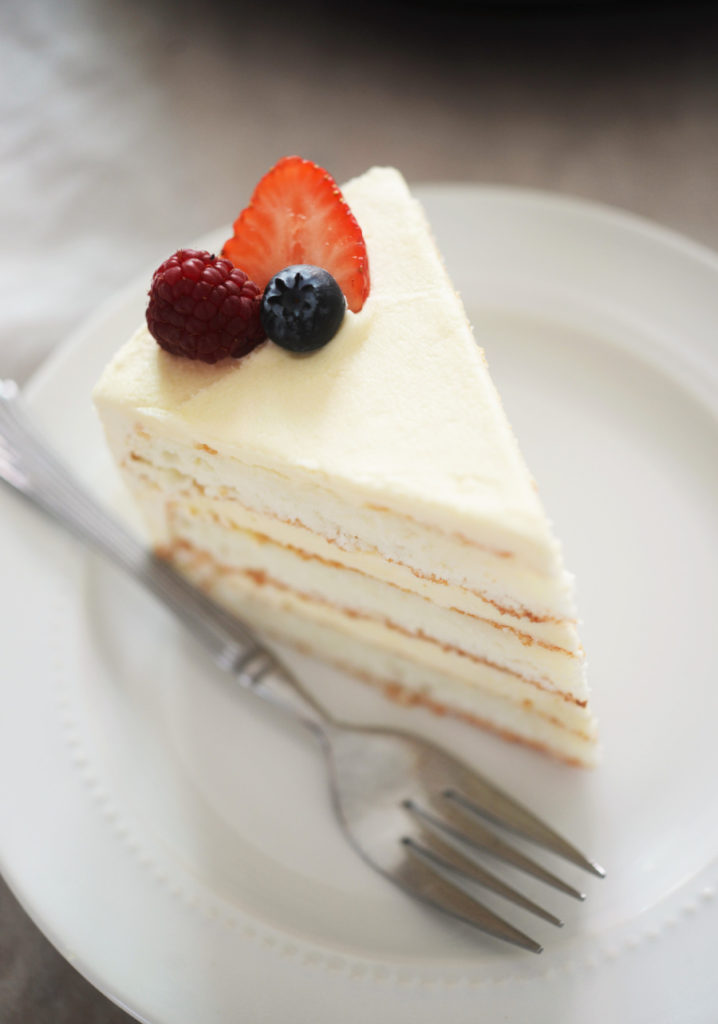 coconut flour white cake on a plate