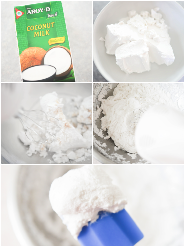 coconut cream in a mixing bowl