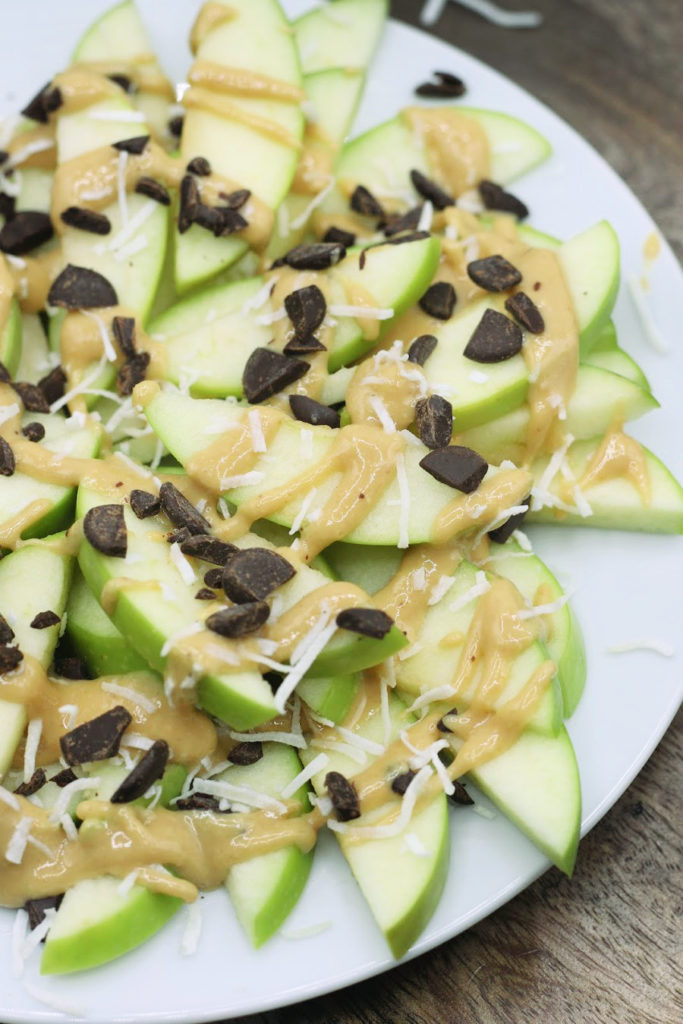 plate with apple nachos with paleo ingredients