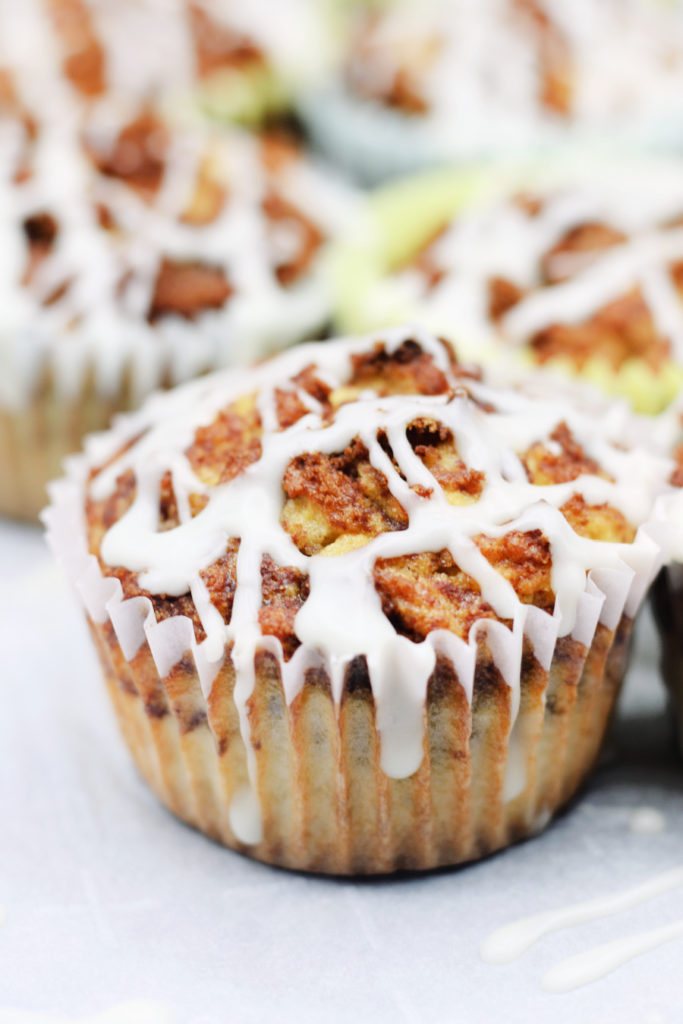 keto coconut flour cinnamon roll muffins also called cinnabon muffins covered with icing