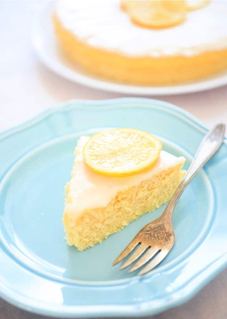 coconut flour lemon cake on blue plates