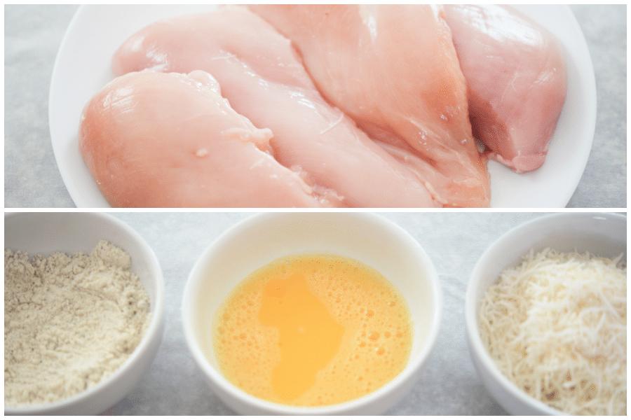 chicken breasts, flour, eggs