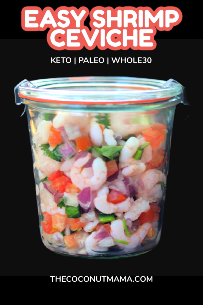 glass jar filled with shrimp ceviche