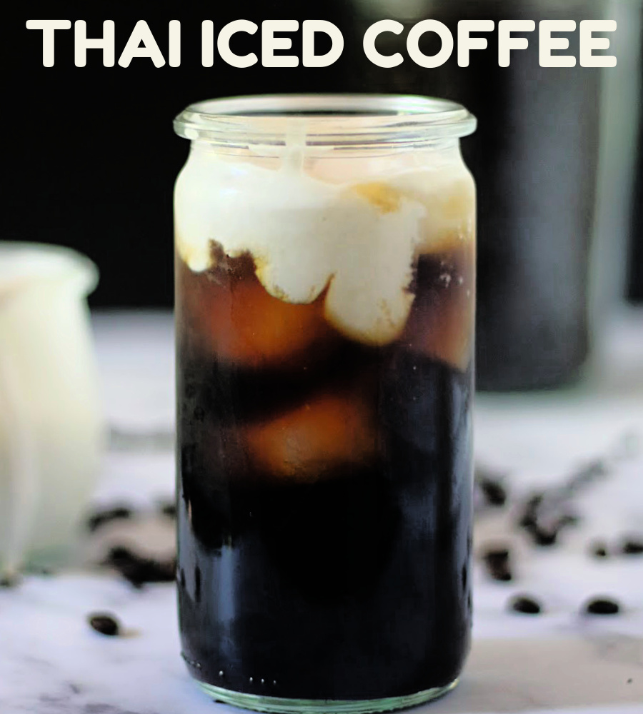 tall glass of Thai iced coffee with coconut milk
