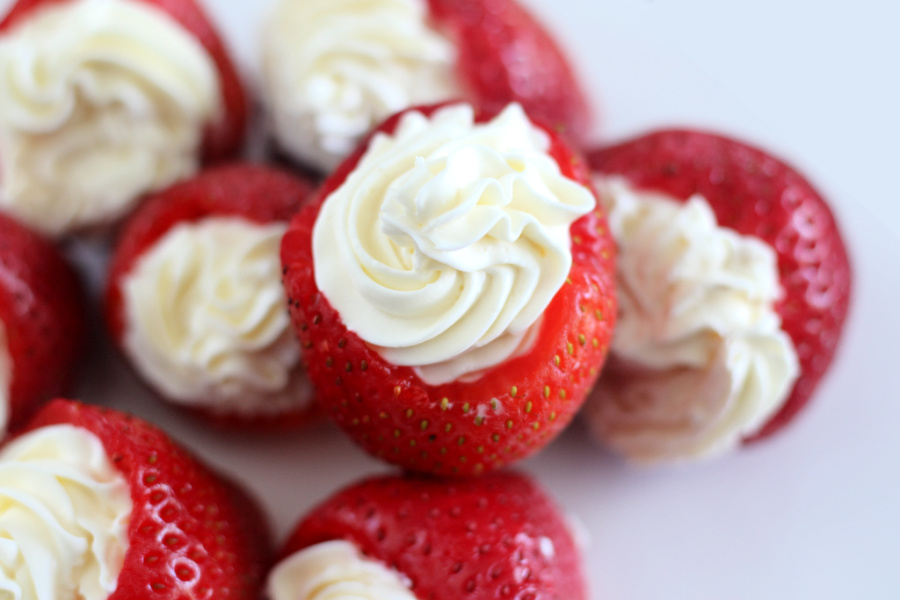 strawberries filled with a cheesecake filling