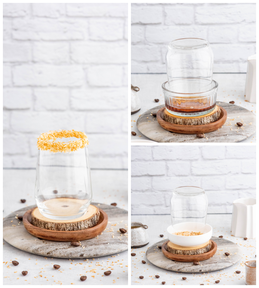 glass cup with rim coated in toasted coconut