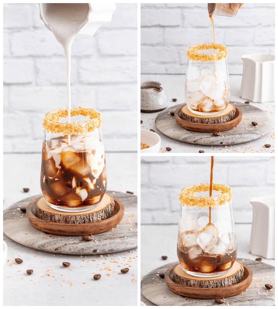 making iced coconut milk coffee latte
