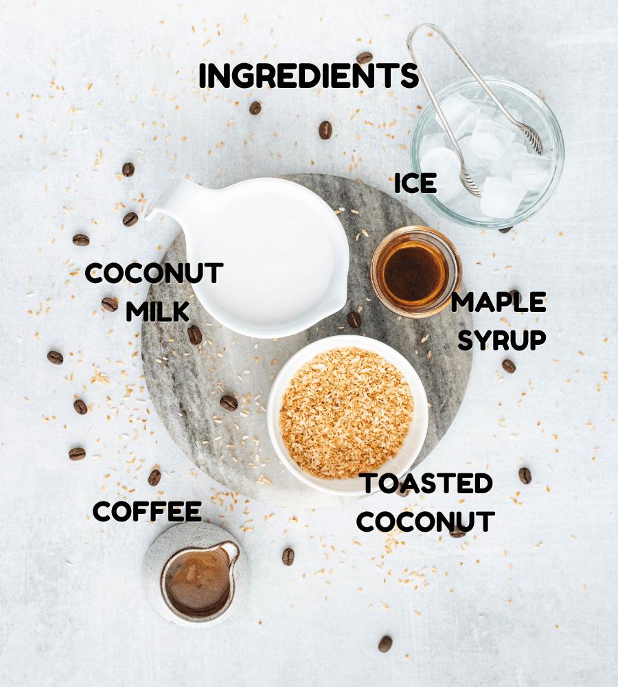 ingredients for making coconut milk coffee