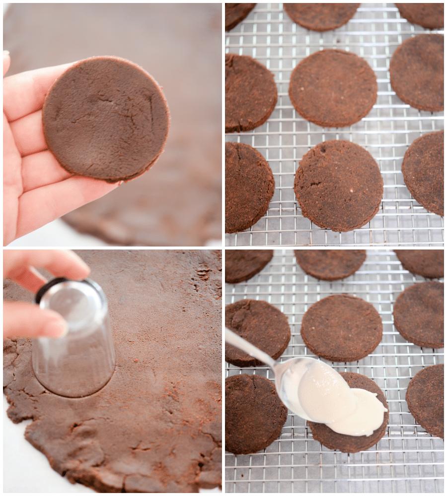 chocolate keto oreos, cut into cookies