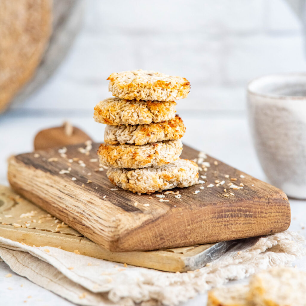 3-ingredient coconut cookies on a cutting board