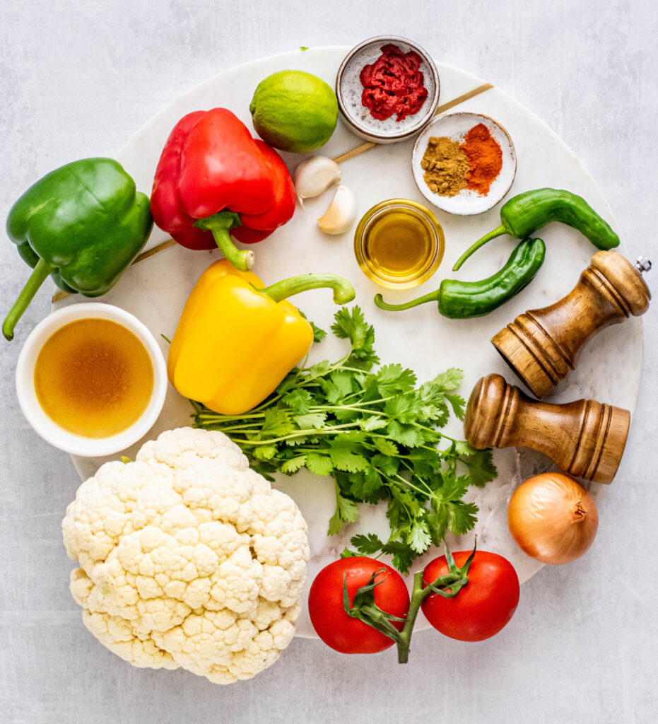ingredients for making cauliflower mexican rice