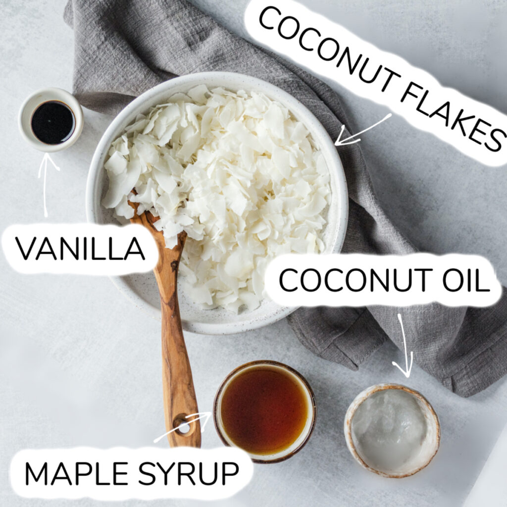 bowl of coconut flakes, maple syrup, coconut oil,  and vanilla extract.