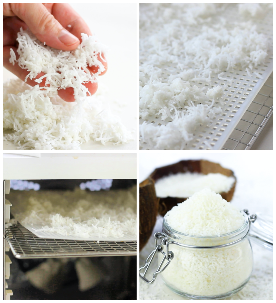 drying desiccated coconut in a dehydrator