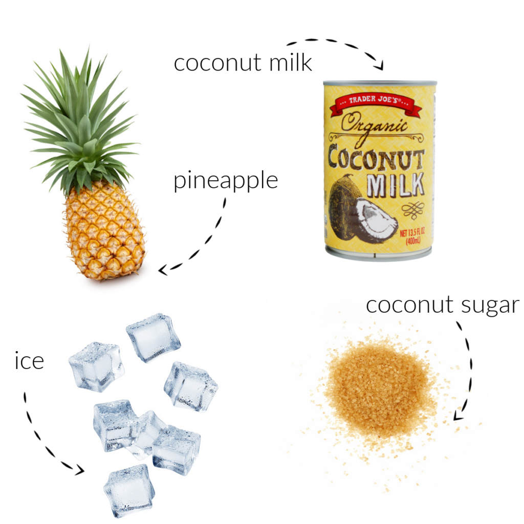 ingredients for making virgin pina coladas