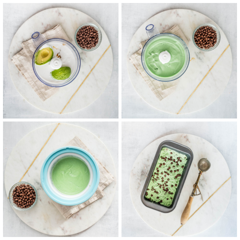 collage of images for making green coconut mint ice cream