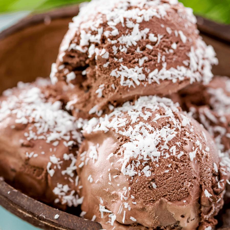 Bowl full of german chocolate ice cream