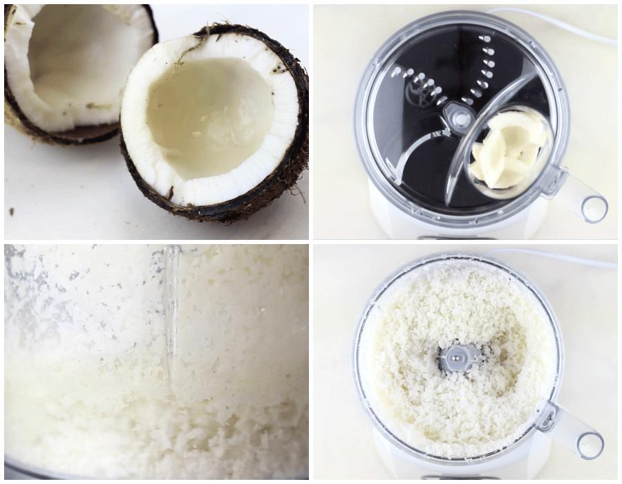 fresh coconut, shredded into coconut shreds