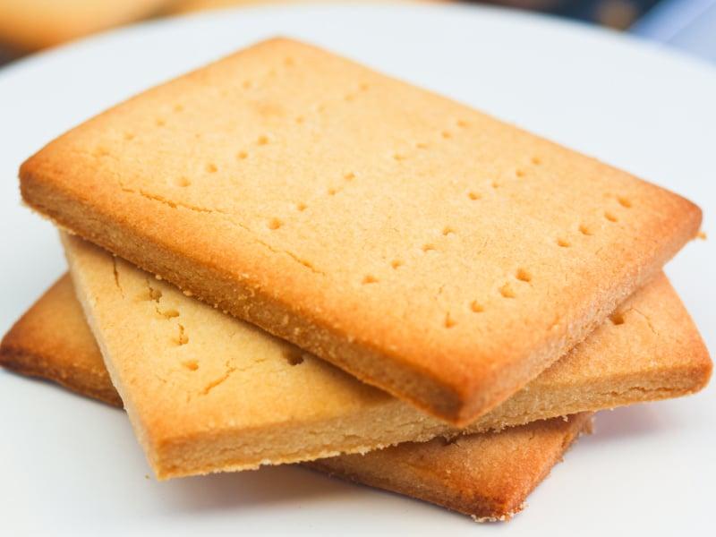 keto graham cracker shortbread cookies on a white plate