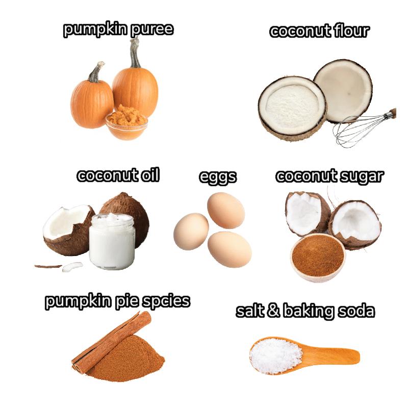 image of ingredients including pumpkin puree, coconut flour, coconut oil, eggs, coconut sugar, spices, baking soda, and salt.