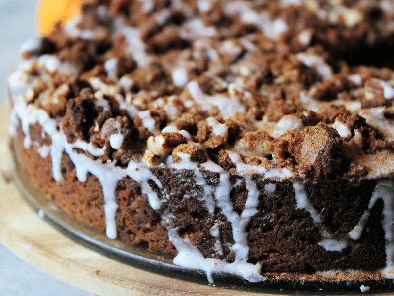 pumpkin coffee cake topped with a vanilla glaze
